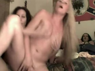 Blonde and brunette humping and fingering on webcam