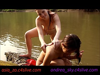 Strip wrestling at public river- andrea sky