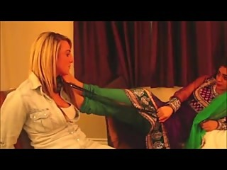 Indian Mistress Has Her Feet Licked And Spits In The Girls Face