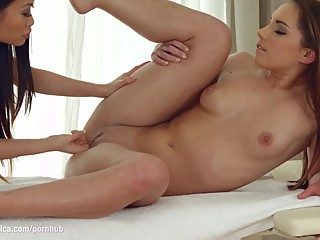 Hot lesbian asian massage from Sapphic Erotica with PussyKat and Jenny Glam