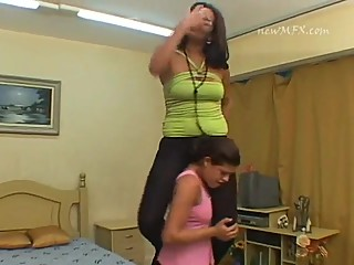 Poor slavegirl must carry her tall and heavy mistress