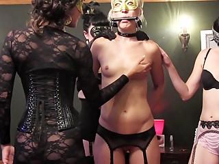 Masked women in secret lesbian fetish orgy