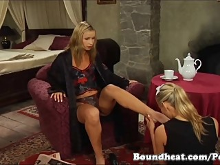 Lesbian slave and foot fetish