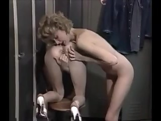 Skinny French twins fuck two lucky guys in locker room vintage