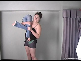 6-9 245 # Nadia lift and carries tiny 5-0 tall, 90 # Jessica