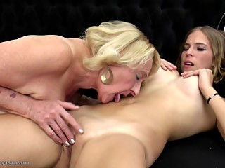 Sweet lesbo couple granny fucks young girl
