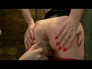Submissive redhead fucked by dominant blonde
