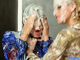 Bukkakke lesbians fisting at gloryhole