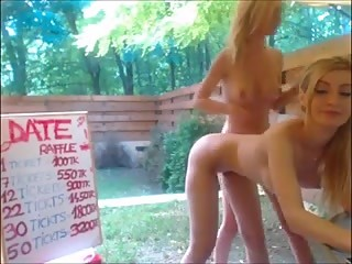 blonde girls in their backyard with vibrators