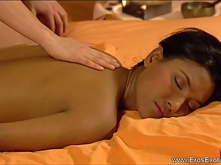 Brunette touch massage to girlfriend.