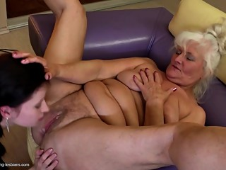 Grannies fuck young lesbian girls