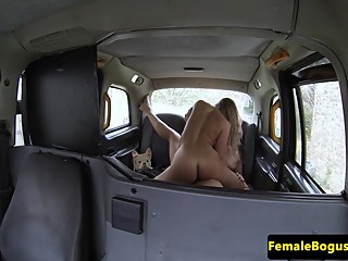Queening les cab driver scissoring busty babe