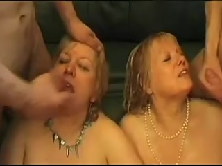 Two mature blonde chubby gals in hot gangbang