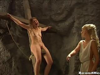 Lesbian mistress enjoying her roman slaves
