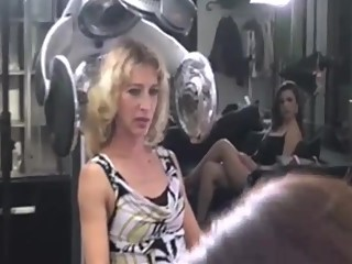 Group of girls have an orgy at the hair salon