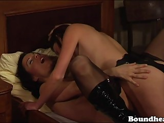 Two horny slaves fingered and tasting pussy