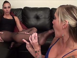 Nylon Lesbian Foot Worship