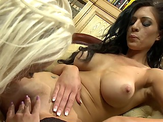 Stunning Brunette babe licks her busty's friend juicy cunt