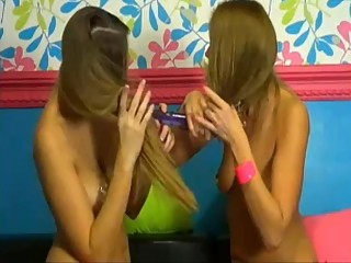 Double Blondes Hairjob on Dildo