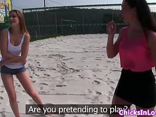 Smalltit lesbian pussylicked in public