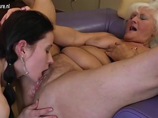 Young girl fucks naughty hairy lesbian granny