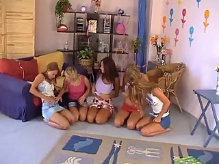 Five Teen Lesbians having fun