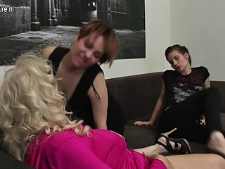Old granny fucked by two young sluts
