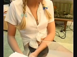 pet girl have foot fun with her Granyy Milf techaer's feet on exam