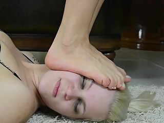 Lesbian Trample, Head Standing and Face Crushing with Bare Feet